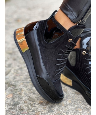 Jesienno - zimowe buty Rusin LAVAREDO BLACK&GOLD skóra naturalna