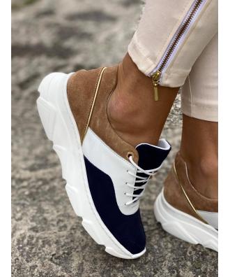 Sportowe buty RUSIN FREE NAVY WHITE skóra naturalna POLSKA PRODUKCJA