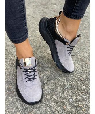 Sportowe buty RUSIN FREE GREY BLACK skóra naturalna POLSKA PRODUKCJA