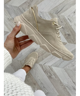 Sportowe buty RUSIN FREE LIGHT BEIGE skóra naturalna POLSKA PRODUKCJA