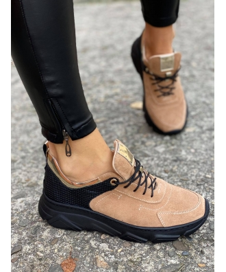 Sportowe buty RUSIN FREE BLACK WARM BEIGE skóra naturalna POLSKA PRODUKCJA