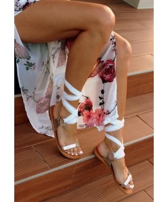 Płaskie sandały w greckim stylu OHSHOES Greece White and silver
