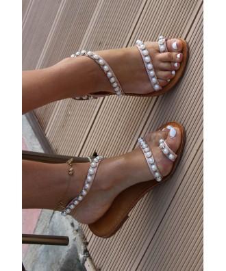 Cudowne płaskie sandały zdobione perełkami OHSHOES pearls