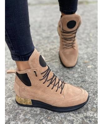 Jesienno - zimowe buty Rusin LAVAREDO CIEPŁY BEŻ skóra naturalna