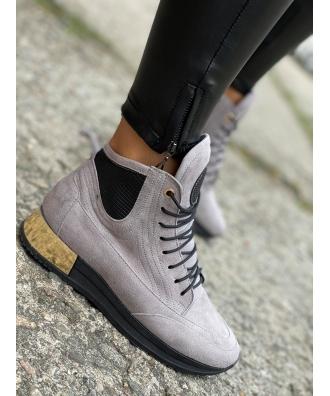 Jesienno - zimowe buty Rusin LAVAREDO GREY skóra naturalna