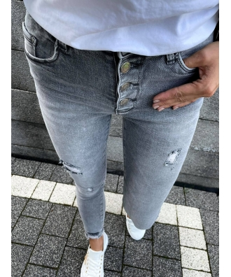 jasno grafitowe jeansy ze streczem z guzikami S5508-B