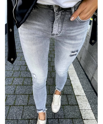 jasno grafitowe jeansy ze streczem z zamkami po bokach S5650-C