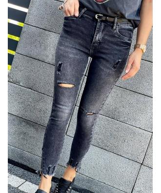 Marmurkowe jeansy ze streczem z zamkami po bokach S5636-B BP