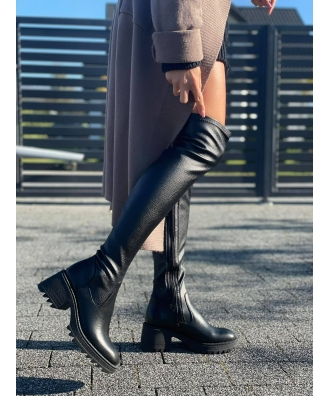 Kozaki za kolano STRECZ na traperowej podeszwie RUSIN LOUVRE czarny groch skóra naturalna